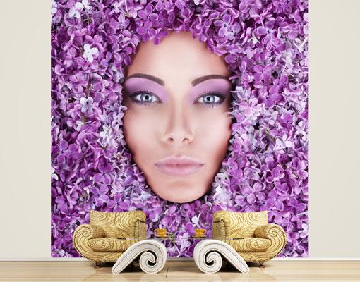 Vlies fototapete tapete violett frau gesicht blume flieder for Tapete violett