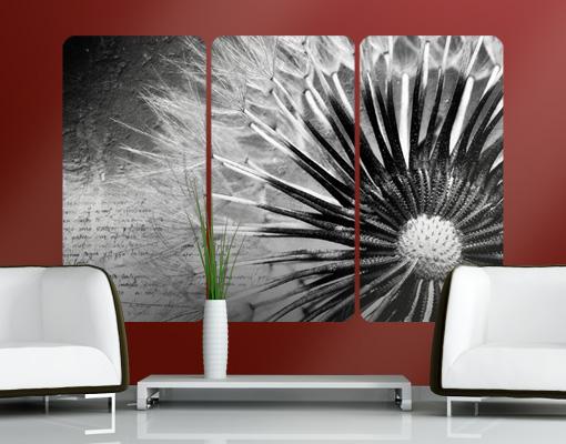 wandbild pusteblume schwarz wei triptychon bl ten. Black Bedroom Furniture Sets. Home Design Ideas
