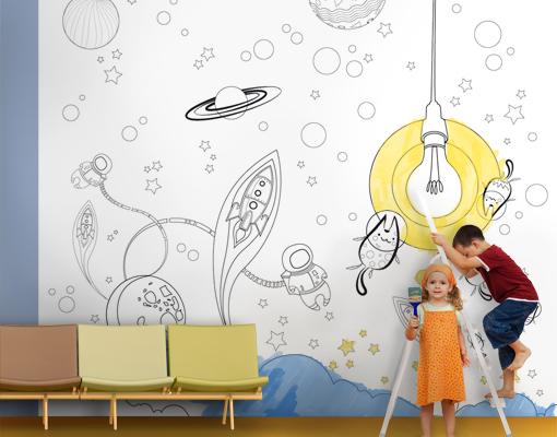 Bilder Auf Tapeten Malen : MW21 Ausmaltapete Weltraum Tapete All Malen Kinder Rakete Kind eBay