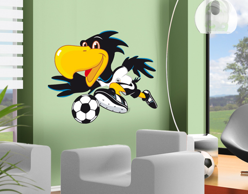wandtattoo dfb paule am ball fussball maskottchen kinderzimmer wandsticker logo ebay. Black Bedroom Furniture Sets. Home Design Ideas