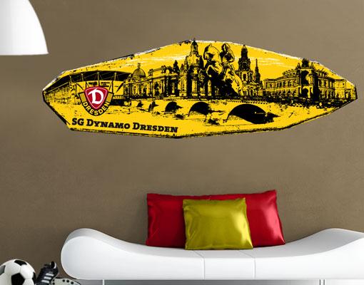 wandtattoo sg dynamo dresden skyline stadt 100x33 fu ball fan artikel sticker ebay. Black Bedroom Furniture Sets. Home Design Ideas