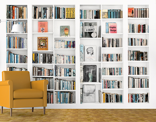 Photo wall mural library 400x280 wallpaper books shelves for Bookshelf wall mural