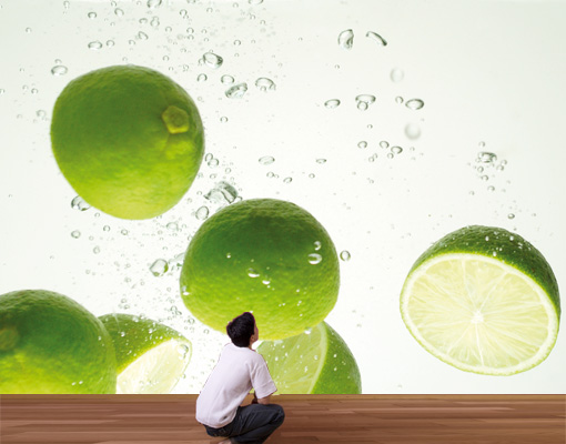 Photo wall mural lime swim 400x280 wallpaper wall art wall for Lime kitchen wallpaper