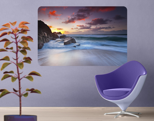Wall mural at the sea in cornwall ocean water sundown for England wall mural