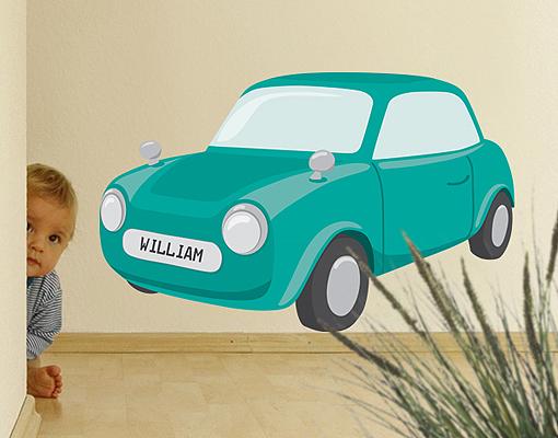 Wandtattoo no ry24 wunschtext knuffiges auto kinderzimmer - Wandtattoo kinderzimmer auto ...