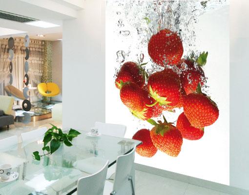 vlies fototapete strawberries erdbeeren obst fr hling k che natur ebay. Black Bedroom Furniture Sets. Home Design Ideas