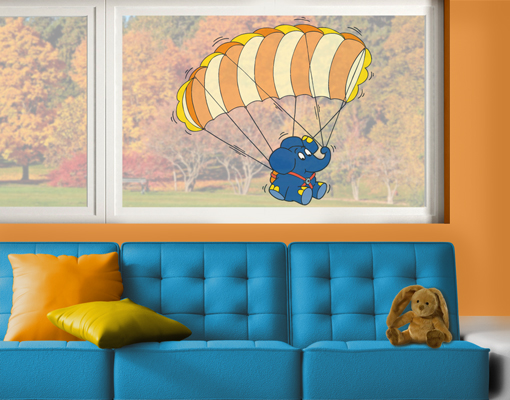 fenstersticker die maus elefant mit gleitschirm fenster. Black Bedroom Furniture Sets. Home Design Ideas