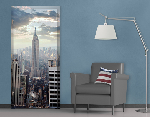 fototapete t r selbstklebend sonnenaufgang in new york skyline usa foto tapeten. Black Bedroom Furniture Sets. Home Design Ideas