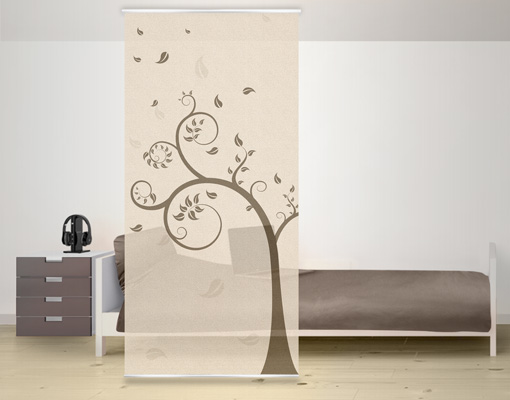 design raumteiler ca25 herbstbaum schiebe vorhang gardine fl chenvorhang ste ebay. Black Bedroom Furniture Sets. Home Design Ideas