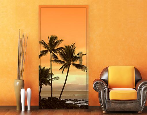 fototapete tuer selbstklebend caribbean sunset ii tapete. Black Bedroom Furniture Sets. Home Design Ideas