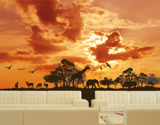 Photo wall mural sunrise safari 400x280 wallpaper art for African sunset wall mural