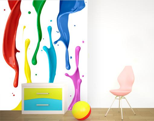 vlies fototapete farbspritzer tapete wasser bunt farbklecks regenbogen ebay. Black Bedroom Furniture Sets. Home Design Ideas