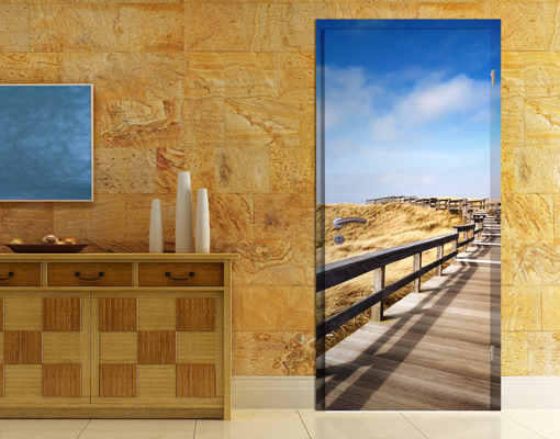 fototapete t r selbstklebend nordseespaziergang foto tapeten strand sonne meer ebay. Black Bedroom Furniture Sets. Home Design Ideas