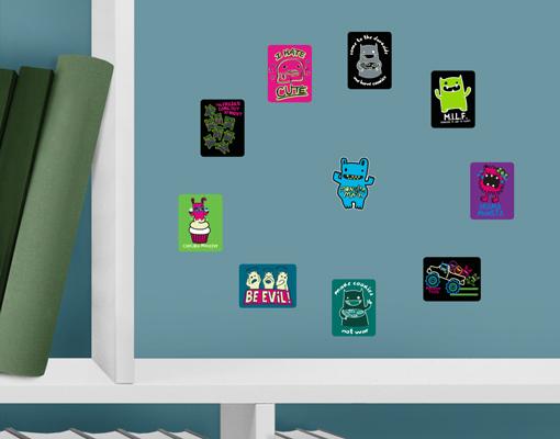 wandtattoo monster mash sammlung sticker set kinderzimmer wand aufkleber nacht ebay. Black Bedroom Furniture Sets. Home Design Ideas