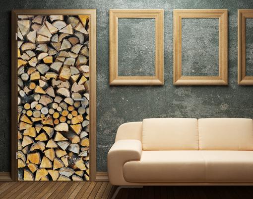 fototapete t r firewood 100x210 foto tapeten holz feuer kamin flamme g nstig ebay. Black Bedroom Furniture Sets. Home Design Ideas