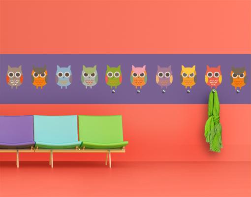 wandtattoo haken no ek147 eulenparade garderobe voegel bunt wald kinderzimmer ebay. Black Bedroom Furniture Sets. Home Design Ideas