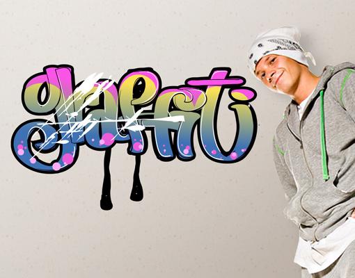 Wandtattoo boy 39 s graffiti sticker aufkleber dekoration streetart sprayen ebay - Wandsticker graffiti ...