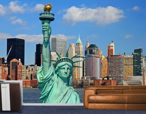 vlies fototapete new york skyline tapete freiheitsstatue. Black Bedroom Furniture Sets. Home Design Ideas