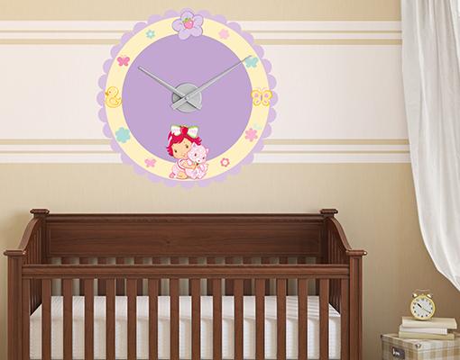 Wandtattoo uhr emily erdbeer baby lila uhrwerk zeit for Kinderzimmer emily