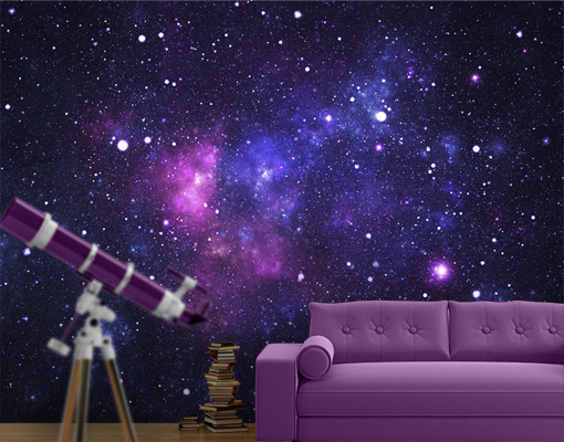 Diy Galaxy Wall Decor : Fleece wall mural galaxy wallpaper art decor