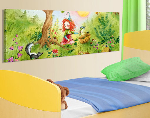 leinwand bild bilder frida sammelt kr uter 120x40 panorama kinderzimmer zauber. Black Bedroom Furniture Sets. Home Design Ideas