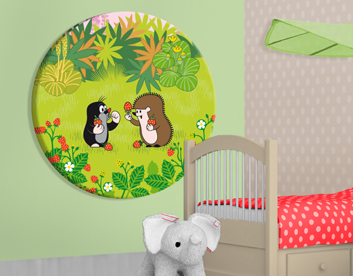 leinwand bild bilder kreis der kleine maulwurf erdbeeren naschen kinderzimmer ebay. Black Bedroom Furniture Sets. Home Design Ideas