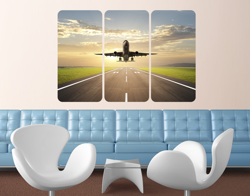 Wall mural starting airplane triptych i aeroplane airport for Aeroplane wall mural