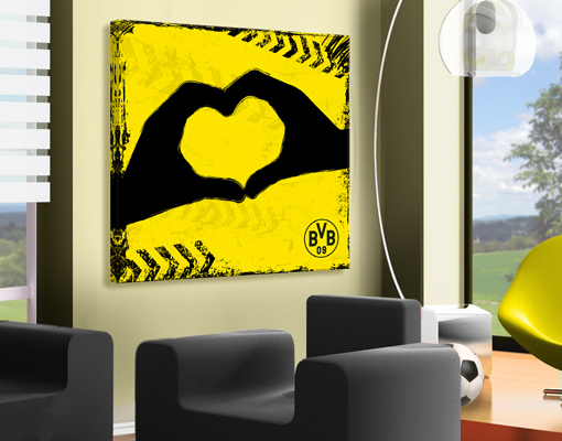 leinwand bild bilder borussia dortmund graffiti gelb fu ball druck bvb verein. Black Bedroom Furniture Sets. Home Design Ideas