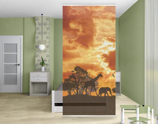 design raumteiler tanzania sunset schiebe vorhang gardine fl chenvorhang afrika ebay. Black Bedroom Furniture Sets. Home Design Ideas