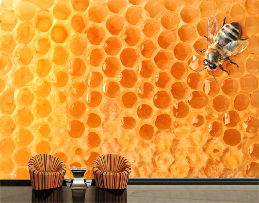 Photo wall mural honey bee wallpaper wall art wall decor for Bumble bee mural
