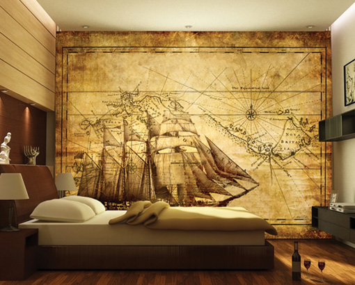 Photo wall mural grand explorer 400x280 wall decor for Antique mural wallpaper