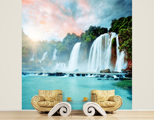 Image Is Loading Fleece Wall Mural Waterfalls Panorama Waterfall Paradise  Dream  Part 36