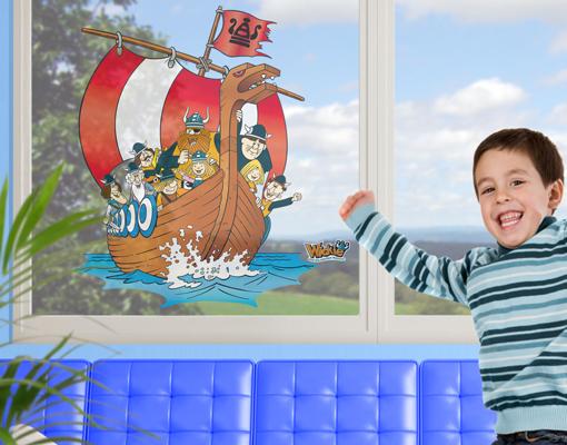 fenstersticker wickie wikingerschiff wandtattoo. Black Bedroom Furniture Sets. Home Design Ideas