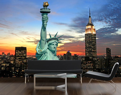 vlies fototapete new york at night tapete amerika nacht skyline freiheitsstatue ebay. Black Bedroom Furniture Sets. Home Design Ideas