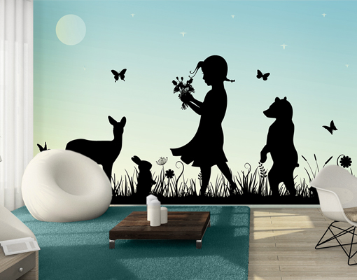 Photo wall mural no js79 flower girl wallpaper wall art for Deer mural wallpaper
