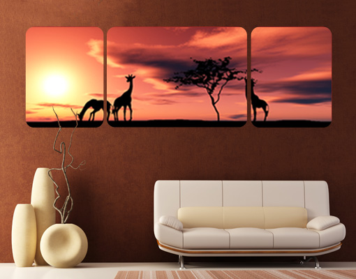 Wall mural the african life triptych africa savannah for African sunset wall mural
