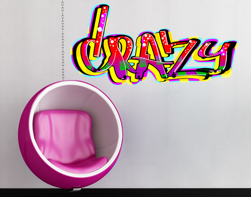 wandtattoo crazy graffiti sticker aufkleber dekoration streetart sprayen ebay. Black Bedroom Furniture Sets. Home Design Ideas
