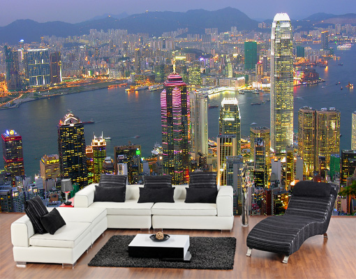 vlies fototapete hongkong skyline tapete china asien metropole peking. Black Bedroom Furniture Sets. Home Design Ideas