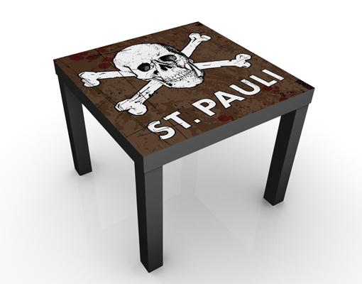 Design Tisch FC St Pauli Totenkopf braun 55x45x55