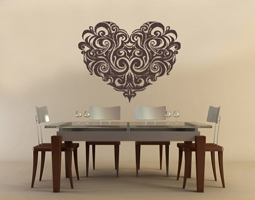 wandtattoo no 330 ornament herz muster schnoerkel romantik ebay. Black Bedroom Furniture Sets. Home Design Ideas