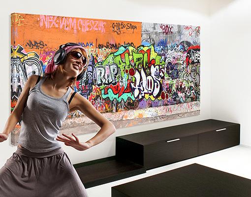 leinwand bild bilder top graffiti 120x40 panorama streetart jugendkultur ebay. Black Bedroom Furniture Sets. Home Design Ideas