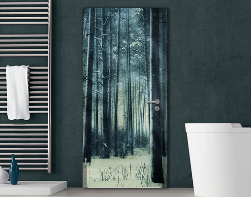 Door photo wall mural mystical winter forest wallpaper for Door mural wallpaper