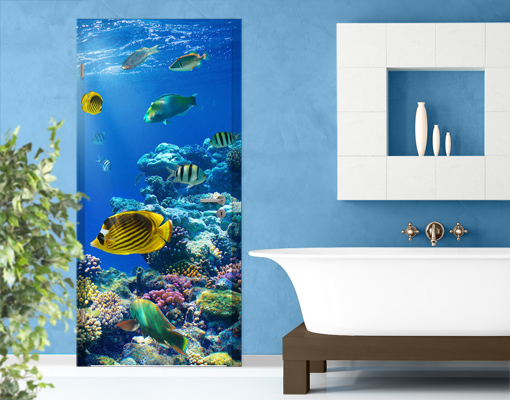 fototapete tuer selbstklebend underwater lights foto tapeten meerestiere fische ebay. Black Bedroom Furniture Sets. Home Design Ideas
