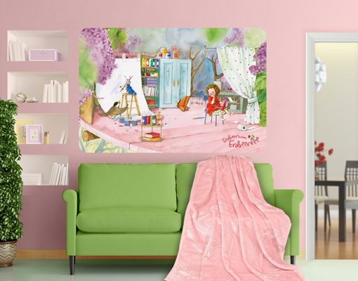 wandbild erdbeerinchen erdbeerfee bastelstunde wandtattoo kinder zimmer m dchen. Black Bedroom Furniture Sets. Home Design Ideas