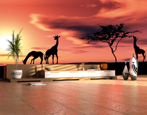 Photo wall mural african savannah 500x280 wall decor for African sunset wall mural
