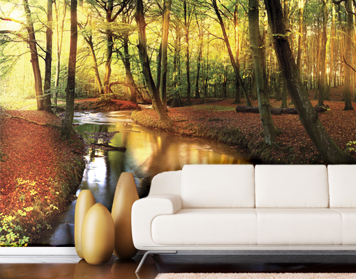 Photo wall mural fairytale autumn 400x280 wallpaper art for Autumn forest wallpaper mural