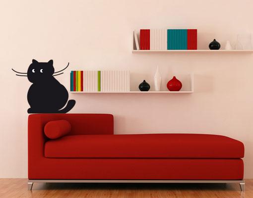 wandtattoo no ul892 rumsitzer dicke katze wandsticker wandtattoo kaetzchen ebay. Black Bedroom Furniture Sets. Home Design Ideas
