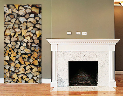 fototapete t r selbstklebend homey firewood foto tapeten holz zuhause feuer ebay. Black Bedroom Furniture Sets. Home Design Ideas