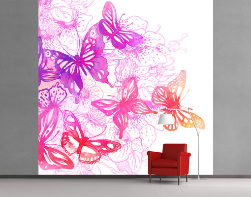 Fleece wall mural butterfly dream romance pattern spring for Butterfly wall mural