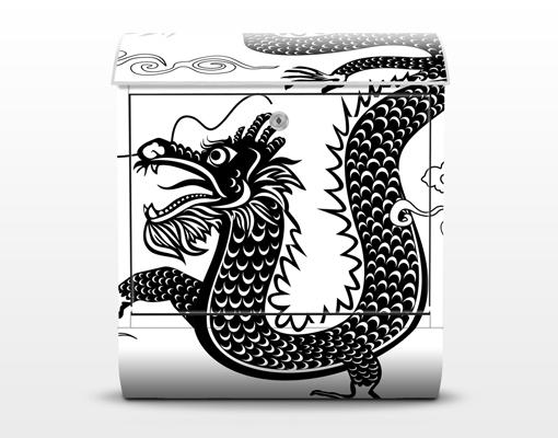 design briefkasten asiatischer drache motiv edelstahl. Black Bedroom Furniture Sets. Home Design Ideas